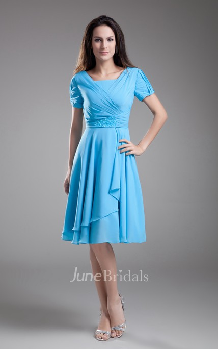 Chiffon Sleeve Square-Neck Midi Dress With Draping