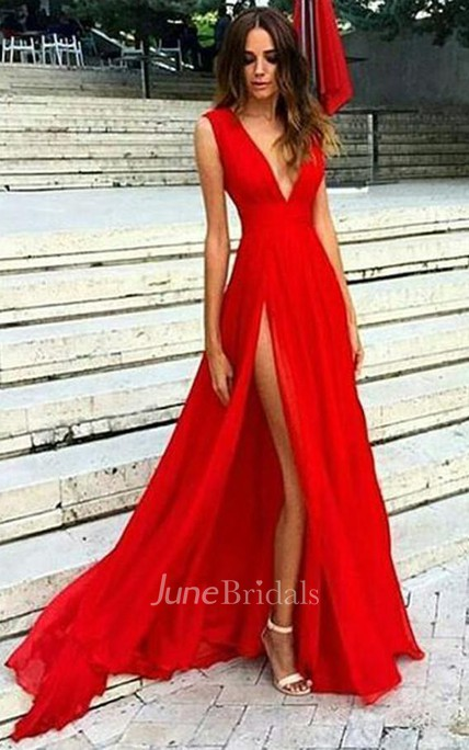 Sexy Side Slit Low V Neck A line Long Evening Prom Dress