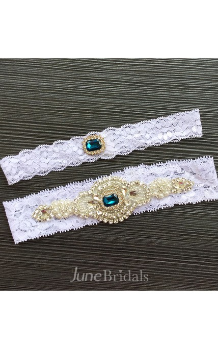 Western Style Nail Jewelry Green Gem Lace Stretch Bridal Garter Within 16-23inch