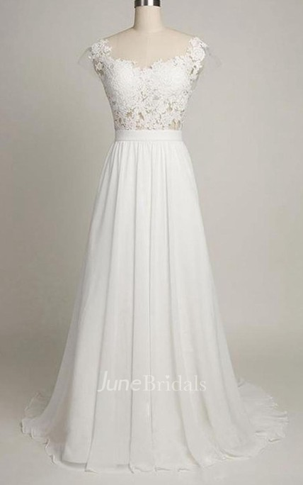 1ef6f272 A-Line Tea-Length Sweetheart Cap Sweep Train Backless Chiffon Lace Dress - June  Bridals