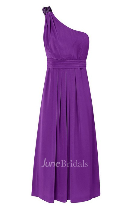 One-shoulder Short Ruffled Chiffon Dress With Beading