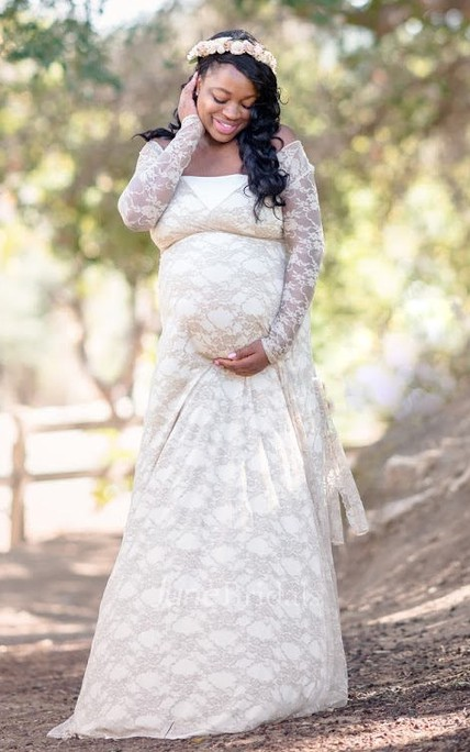 926e6f53182 Removable Illusion Long Sleeve Long Lace Maternity Dress - June Bridals