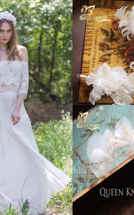 Off-the-shoulder Lace Chiffon Boho Wedding Dress and Beautiful ...
