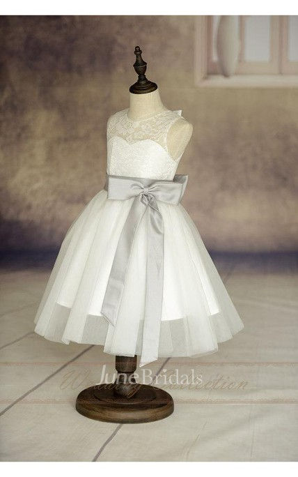 Ivory Sleeveless Lace Bodice Tulle Flower Girl Dress With Eggplant Sash and Bow