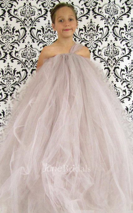 One shoulder A-line Tulle Flower Girl Dress