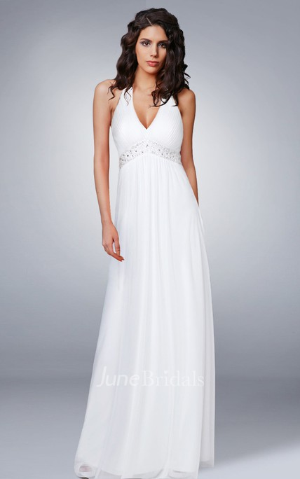 806f05ac32f Halter V Neck Empire Chiffon Wedding Dress - June Bridals