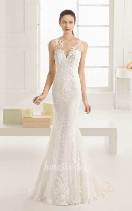 Exquisite Sleeveless Scoop Neck Mermaid Dress With Illusion Back