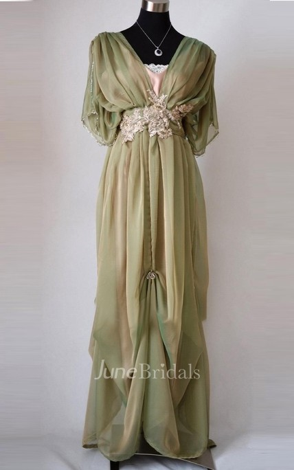 Central Drapped Floor-Length Dress With Appliques And Bow