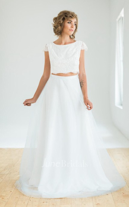 Crop Top Two Piece Wedding With Lace Top And Flowing Blue Skirt ...