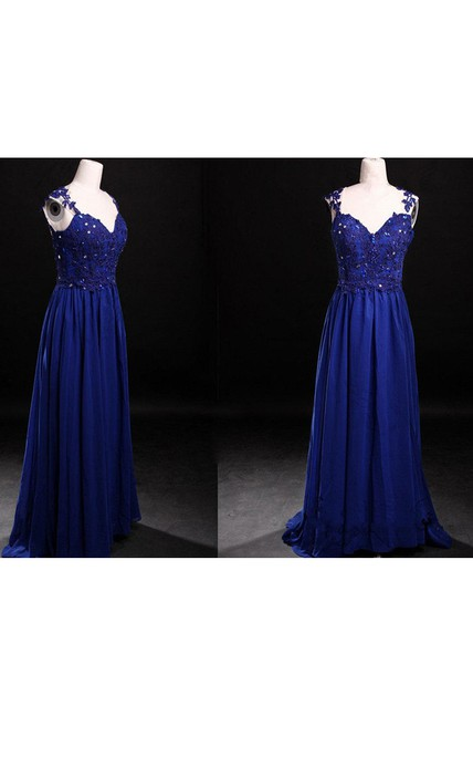 Royal Blue Cap Sleeved Chiffon Dress With Lace Appliques