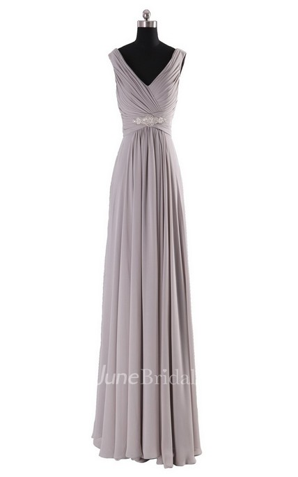 Sleeveless V-neck Long Empire Beaded Chiffon Dress