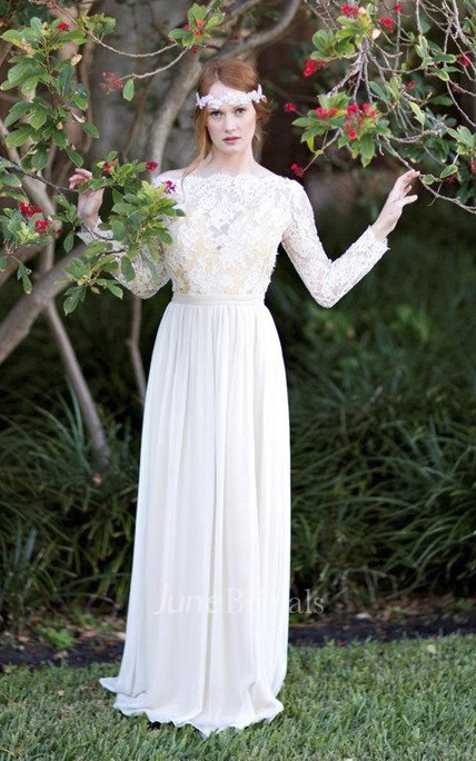 Romantic Long A-Line Wedding Dress With Lace Bodice on Tulle