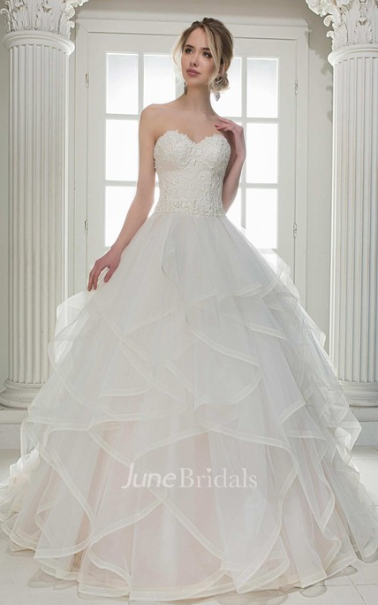 2a498c00724 Sweetheart A-Line Ball Gown Draped Wedding Dress With Lace Top And Corset  Back - June Bridals