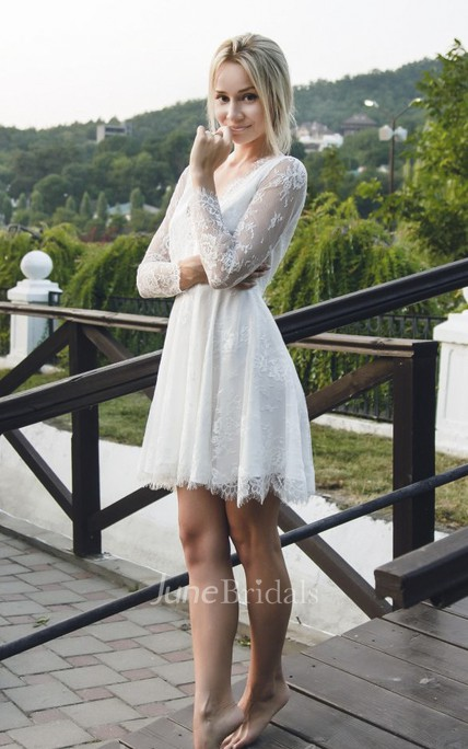 Sexy Lace Short Wedding Dress With Long Sleeve And Deep V-neck