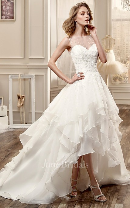 d701df9dcb4 Jewel-Neck High-Low Wedding Dress With Cascading Ruffles And Beaded Bodice  - June Bridals