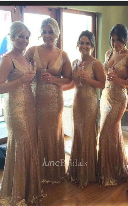 Stunnning V-Neck Sequins Gold Bridesmaid Dresses 2018 Plus Size Long Floor Length