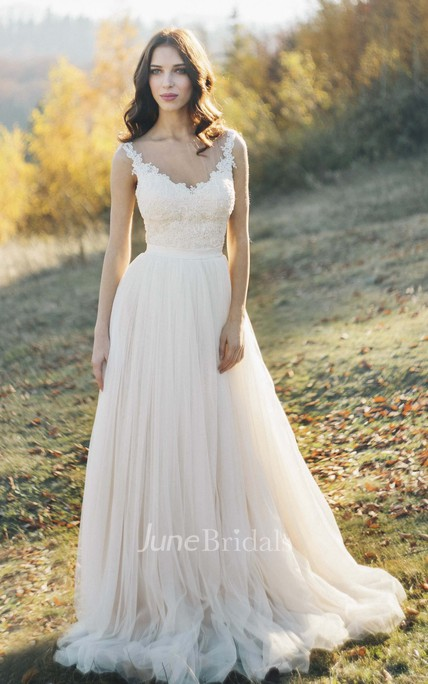 Tulle Sleeveless Illusion Bateau Neck Wedding Dress With Lace Detailed Top And Illusion Back