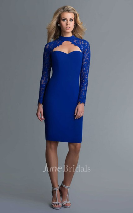 Pencil Knee-Length High Neck Long Sleeve Jersey Keyhole Dress With Lace