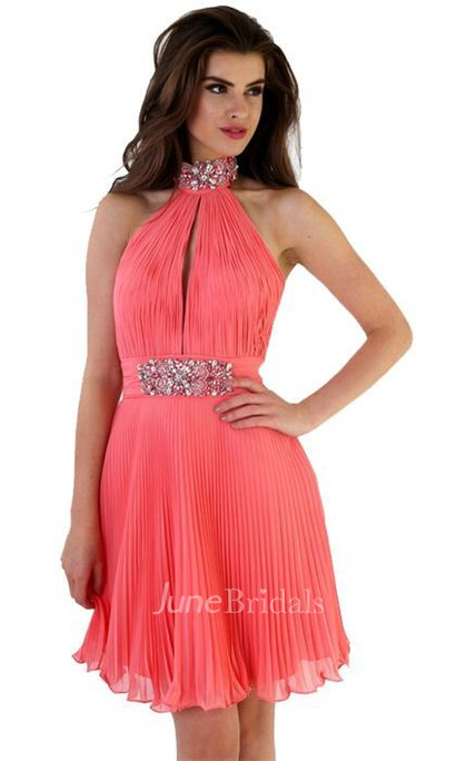 Sleeveless Pleated High-Neck Mini Chiffon Prom Dress With Beading
