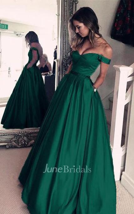 Emerald Green Off The Shoulder Long Evening Prom Dress - June Bridals