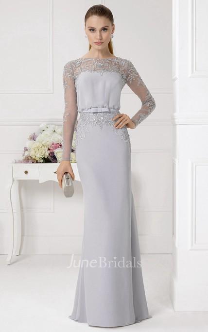 08ee36b87bc73 Sheath Beaded Jewel Neck Illusion Sleeve Chiffon Prom Dress - June Bridals