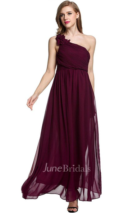 Empire Floral Single Strap Chiffon Long Dress Red
