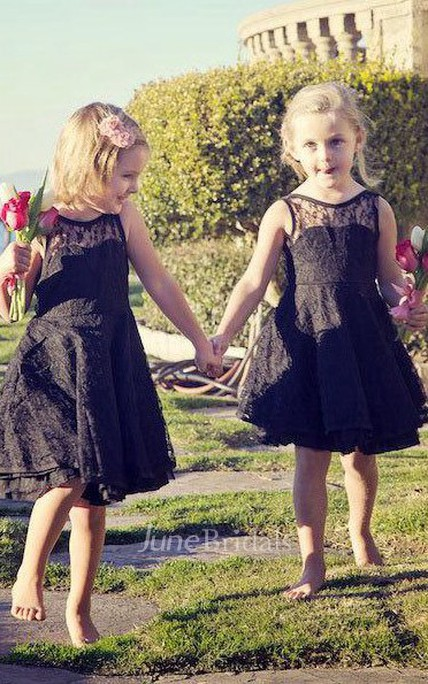Sleeveless Knee-length Lace Flower Girl For Toddlers