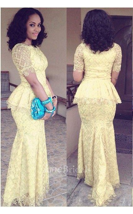 Modern Lace Mermaid Yellow Prom Dress 2018 Short Sleeve