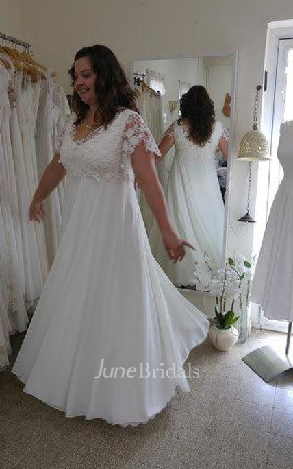 V-Neck Short Sleeve Lace Chiffon Plus Size Wedding Dress - June Bridals