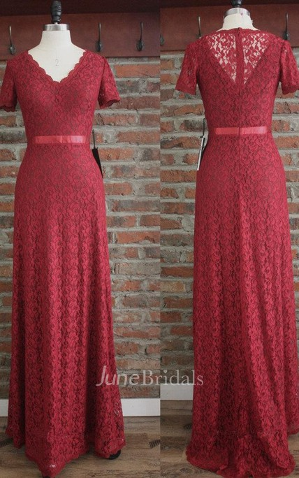 V Neck Lace Sneath Long Dress With Short Sleeves