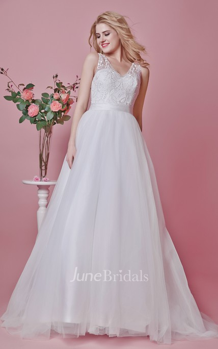 88c550708b7 Noble Lace-appliqued and Tulle Gown With Illusion Back and Symmetrical Lace  - June Bridals