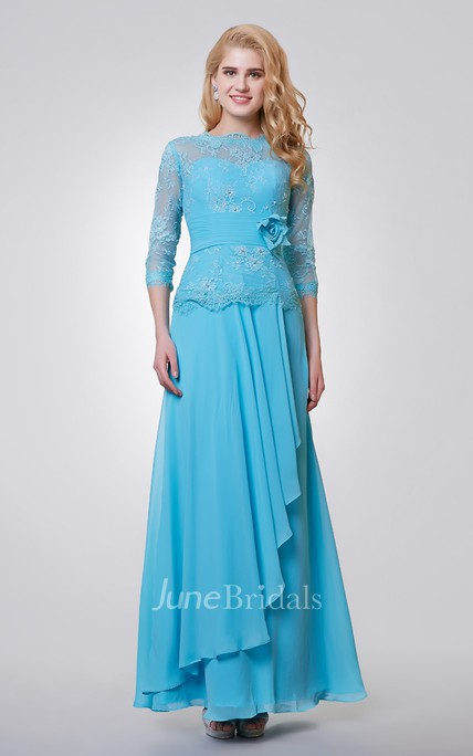 3 4 Length Sleeve Long Chiffon and Lace Dress With Side Draping