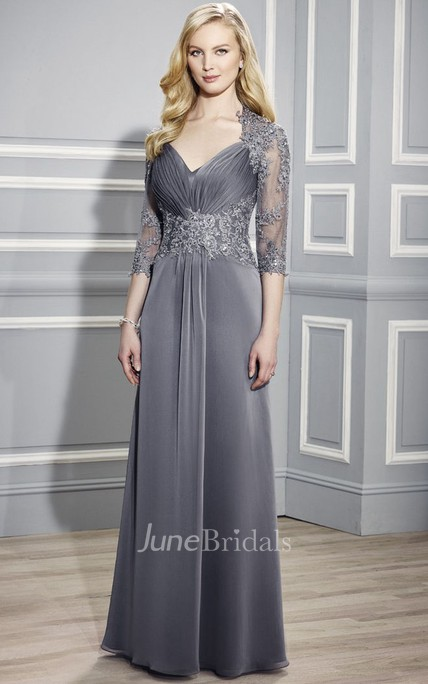 6f63f8a99cc V-Neck 3-4 Sleeve Ruched Jersey Formal Dress - June Bridals