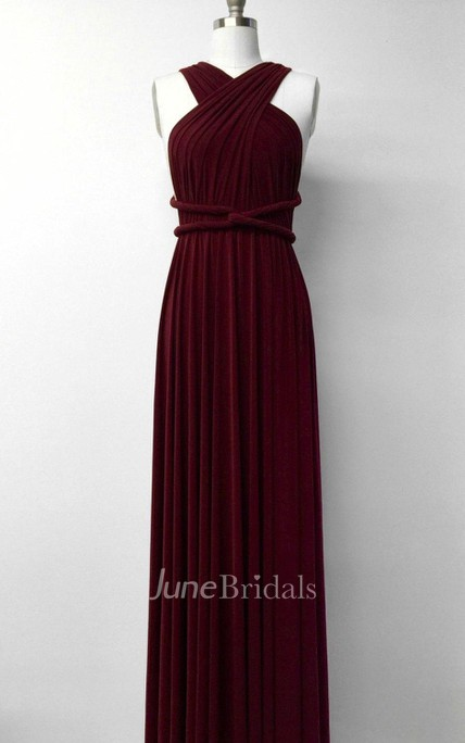 Burgundy Wine Red Long Floor Length Ball Gown Infinity Convertible Formal Multiway Wrap Bridesmaid Evening Party Dress