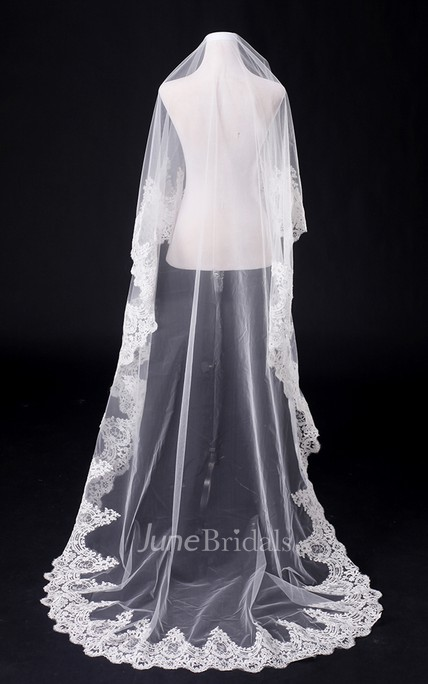 One Tier Cathedral Wedding Veil With Lace Applique Edge