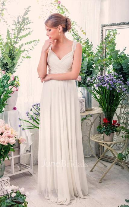 Sleeveless Chiffon Pleated Lace Floor Length Wedding Dress