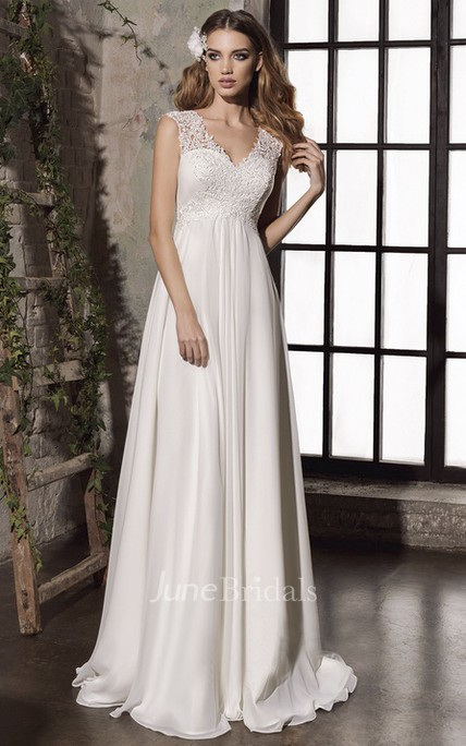 Elegant Sheath Empire Lace Appliqued Bridal Gown With Keyhole And Corset Back