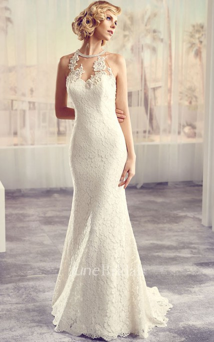 High Neck Long Appliqued Lace Wedding Dress With Court Train And Keyhole