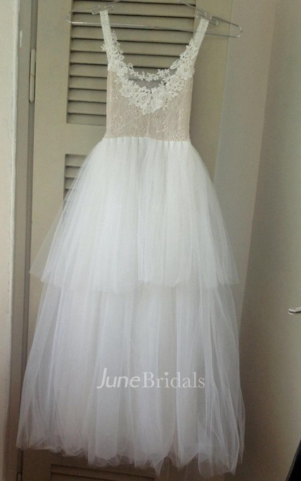 Sleeveless Low-v Neck Tulle&Lace Dress With Flower