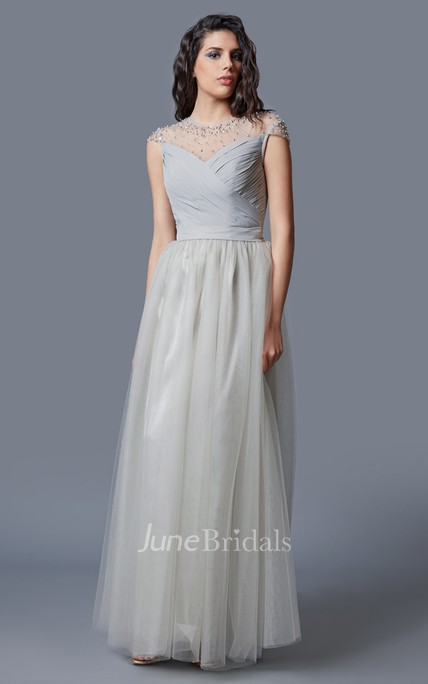 Glamorous Short Sleeve Criss-Crossed Tulle Gown With Chiffon Belt and Beading