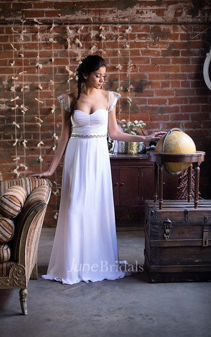 Violet Sequin Caplet Sleeve Sweetheart Neck Ruched A-Line Chiffon Wedding Gown With Beading