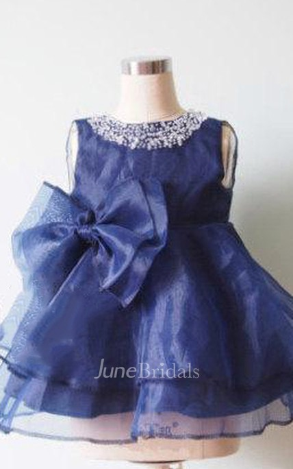 Sleeveless Beaded Neck Short Organza Dress With Bow and Ruffled