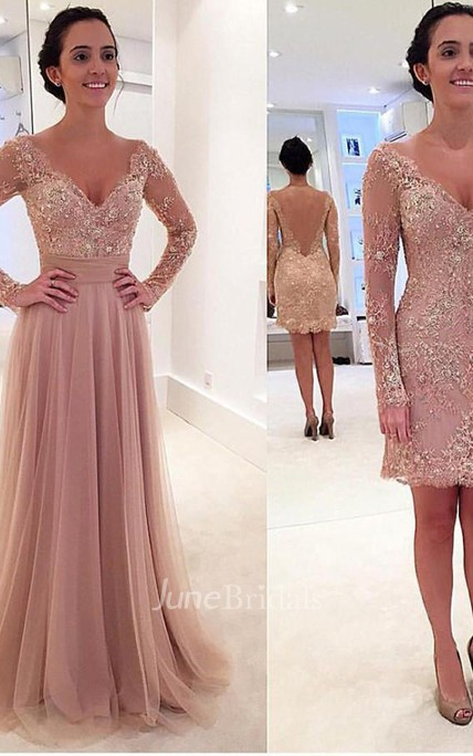Long Sleeves V-neck Tulle Prom Dress with Detachable Train