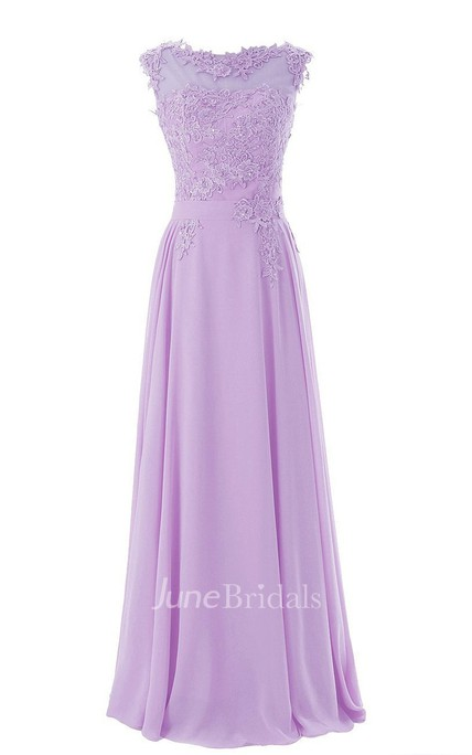 Cap-sleeve Bateau Neck A-line Dress With Lace Appliques