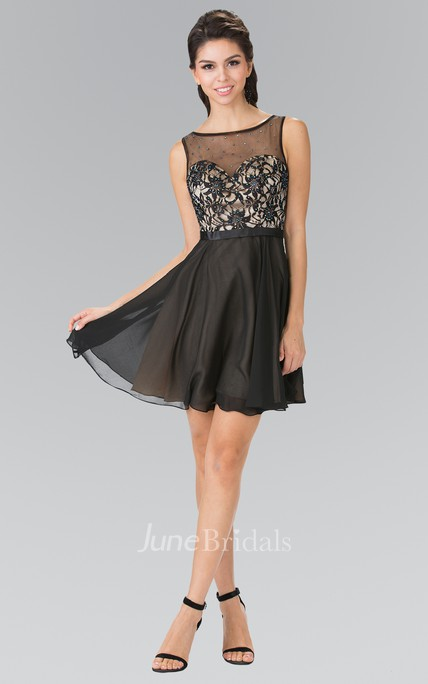 A-Line Short Bateau Sleeveless Deep-V Back Dress With Appliques And Beading