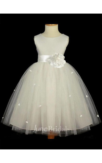 b2b69c491d3 A-line Princess Scoop Sleeveless Hand-made Flower Floor-length Tulle Flower  Girl Dresses - June Bridals
