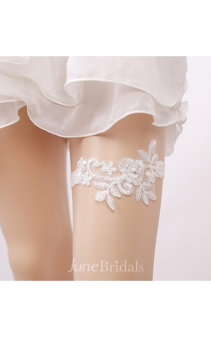 White Sexy Lace Applique Handmade Elastic Garter Within 16-23inch