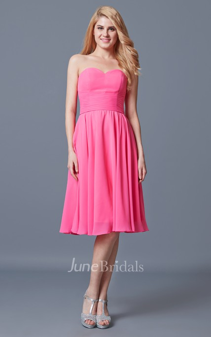 Vibrant Sleeveless Pleated Knee-length Chiffon Dress With Backless