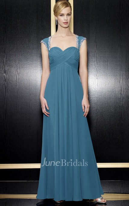 A-Line Floor-Length Empire Queen-Anne Criss-Cross Chiffon Formal Dress With Zipper Back And Beading