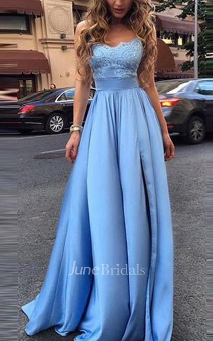 Simple Lace Bodice Sweetheart A-line Long Evening Prom Dress